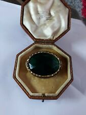Vintage Art Deco Large Paste Glass Emerald Green Stone Brooch Pin
