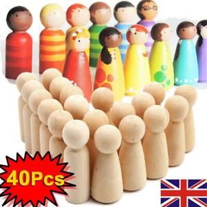 40PCS 65mm Large Unfinished Paint Peg Dolls Natural Wood Kids Family DIY Dolls