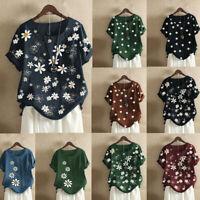Womens Summer Cotton Linen Floral Tops Ladies Loose Blouse T Shirts Plus Size