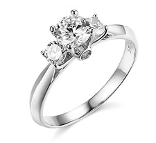 1.25 Ct Round Cut 3-Stone Past Present Future Ring Real Solid 14K White Gold