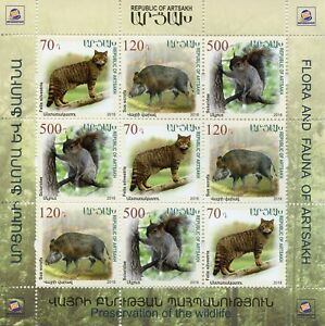 Karabakh Republic of Artsakh 2018 MNH Fauna Wild Cats Squirrels 9v M/S Stamps