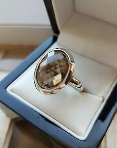 925 STERLING SILVER WOMENS SMOKY QUARTZ LARGE SOLITAIRE RING - GEMS TV - NEW