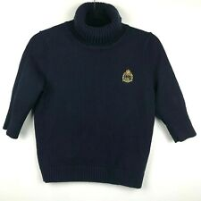 Ralph Lauren Sweater Turtleneck 3/4 Sleeve Sz P Women's Blue Gold Crest Embroide