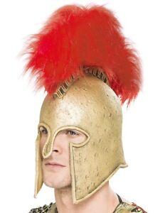 Mens Latex Deluxe Roman Centurion Armour Helmet Fancy Dress Greek Hat by Smiffys