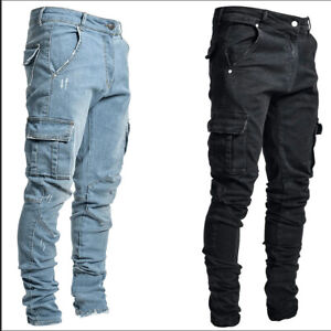 Men's Ripped Skinny Jeans Stretch Trousers Casual Slim Daily Chic Denim Pants