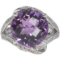 Amethyst Round Gemstone 8.70 carat Checkerboard Wrap Sterling Silver Ring size N