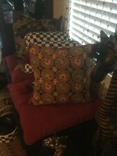 MacKenzie Childs Pillow Navy Blue Stars Front & Check Back, Retail $295