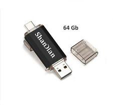 """Pendrive Chiavetta Doppia Usb Micro Usb Tipo C Otg 64 64GB Usb 3 Colore """"Nero"""""""