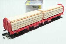 Minitrix N DB Cargo 4ach. Holztransportw. beladen rot 15650 NEU OVP