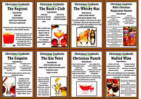 Christmas Cocktail Recipes Glossy Finish Card Topper - Craft Embellishment