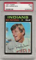 1971 TOPPS # 510 KEN HARRELSON, PSA 7 NM, CLEVELAND INDIANS, L@@K !