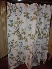 THRESHOLD BOTANICAL TOILE BLUE BIRD BROWN CREAM FABRIC SHOWER CURTAIN 67 X 70