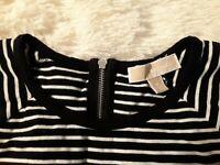 Michael Kors Short Sleeve Striped back zip Shirt Size Medium MK  Logo