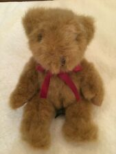 Russ Berrie Chadsworth Sitting Plush Stuffed 5� Brown Teddy Bear Dk Red Neck Bow