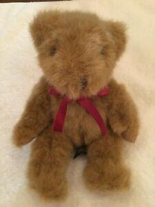 "Russ Berrie Chadsworth Sitting Plush Stuffed 5"" Brown Teddy Bear Dk Red Neck Bow"