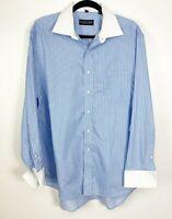 Donald J. Trump Mens Size 17 34/35 Striped Button-Down Shirt White French Cuff