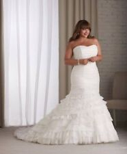 New Plus Size White/Ivory Long Mermaid Wedding Dress Bridal Gown Lace Up Dresses