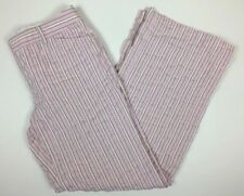 Express Dress Pants Size 6 Pink Tan Pin Stripe Editor Wide Leg Lightweight