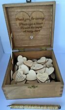 Personalised WEDDING GUEST BOOK BOX Rustic 150 Wooden Hearts Vintage Shabby Chic