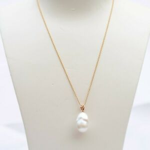 22.5x15.5mm baroque freshwater pearl natural wite 18K gold pendant 32.73cts KG76