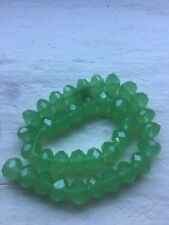 8mm Oval Spring Green Cystal 2 Strands 64 Beads