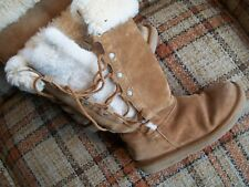 "Ugg Womens Size 6 (EU 37) Real Fur-Lined Boots (13"") Drawstring S/N 5163"