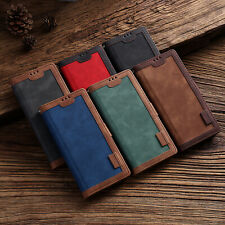 Classic Flip PU Leather Magnetic Strap Lot Card Wallet Pocket Stand Case Cover H