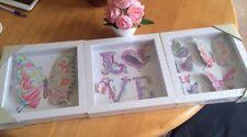 Set Of Three Girls Butterfly Nursery Framed Box Art 3d Effect Pictures Wall Art