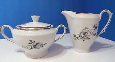 Cmielow Rosalie White and Silver Sugar Bowl with Lid & Creamer  Made in Poland