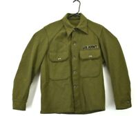 Vintage US Army Men's Size Small Button Up Long Sleeve Wool Shirt Green