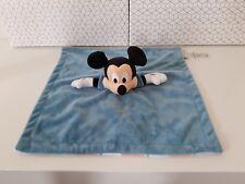Doudou Plat carré bleu Mickey Mouse Disney Store revers carreaux rouge NEUF