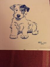 A Rare Antique Carter Painted Wall Tile Of A Puppy By Cecil Aldin