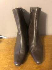 PREDICTIONS WOMENS BROWN LEATHER ZIP SIDE ANKLE BOOTS SIZE 9 M