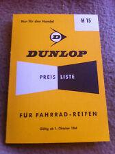 Dunlop Preisliste Fahrradreifen Handel H15 1964 ***WIE NEU***