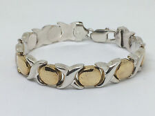 "ITALY -925 Sterling Silver -7MM- XOXO 2Tone Tennis Bracelet - 7"" - 18.6g  #995"