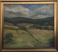 Impressionist 1916 Monogramm beidseitig bemalt Landschaft + Interieur68 x 77