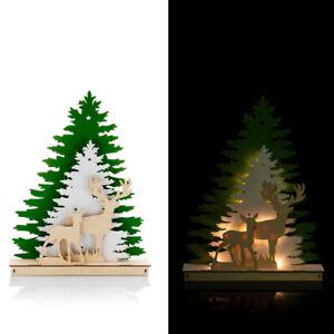 Winterlandschaft mit Hirschen, LED beleuchtet Timer - Dekoration für Weihnachten