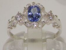 SOLID HALLMARKED STERLING 925 SILVER NATURAL TANZANITE & DIAMOND 3 STONE RING