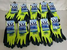 10 BUCKHEAD SANDY FINISHED LATEX PAM WORK GLOVES HI VISIBILITY GREEN 10 PAIRS LG