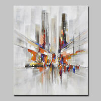 Hand painted Abstract City Landscape Oil paintings on Canvas Picture Home Decor