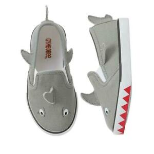 NWT Toddler Boys Size 5 GyMbOrEe 3D Shark Sharks Canvas Slip on Shoes Sneakers