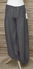LAGENLOOK OVERSIZED 100% LINEN BALLOON LONG TROUSERS/PANTS***CHARCOAL***L-XL-XXL