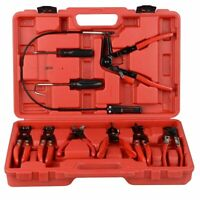 New 9PC Hose Clamp Clip Plier Set Swivel Jaw Flat Angled Band Automotive Tool