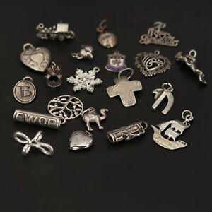 VTG Sterling Silver - Lot of 20 Assorted Travel Bracelet Charms NOT SCRAP - 44g