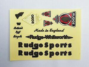 Vintage RUDGE SPORT logo frame transparent stickers set for Bicycle Bike