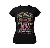 Life Begins At 18-39 Ladies Birthday T-Shirt Gift Year 1981 - 2002 *Choose Age*
