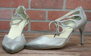 Paul Green Platinum Metallic Silver Pointy Toe Cage Lace Pump/Shoes SZ 7.5