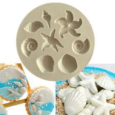 Sea Shell estrellas de mar Silicona Fondant Decoración Molde Molde Sugarcraft Glaseado Tarta