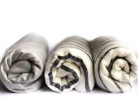 SOFT & WARM WHITE GREY STRIPED ALPACA LLAMA WOOL HANDMADE BLANKET PLAID
