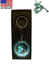 Pokemon Go Rayquaza 3D LED Crystal Keychain & Gift Box Gold Star EX Shining